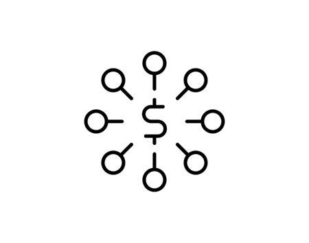 Dollar connection glyph  icon vector illustration. Illusztráció