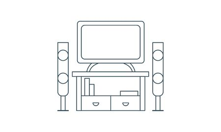 Home cinema icon in trendy design style. home cinema icon isolated on white background  イラスト・ベクター素材