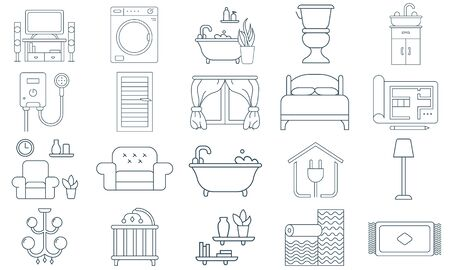 Interior design house improvement icon set in vector image Illustration