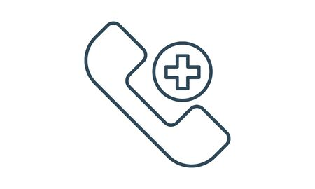 Phone Symbol For Contacting On line Physician Consultation Specialist In Glyph Pictogram Vector illustration Vettoriali