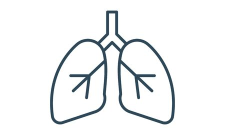 Lungs line icon concept lungs flat symbol vector image Vectores