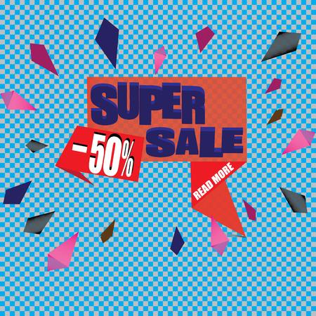 50 off: Super Sale Banner. Vector illustration Illustration
