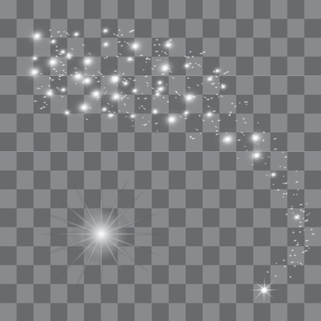 White glowing light burst explosion with transparent. Vector illustration for cool effect decoration with ray sparkles. Bright star. Transparent shine gradient glitter, bright flare. Glare texture. 向量圖像