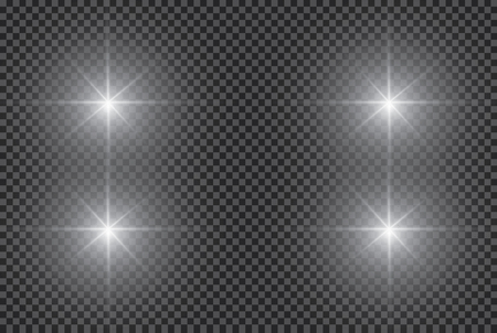 White glowing light burst explosion with transparent. Vector illustration for cool effect decoration with ray sparkles. Bright star. Transparent shine gradient glitter, bright flare. Glare texture. Ilustração