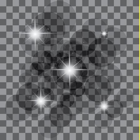 White glowing light burst explosion with transparent. Vector illustration for cool effect decoration with ray sparkles. Bright star. Transparent shine gradient glitter, bright flare. Glare texture. Ilustração