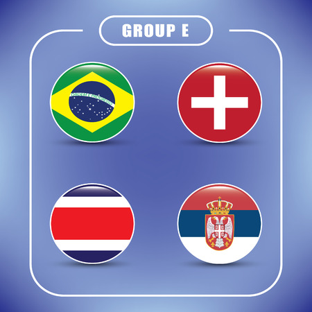 Football. Championship. Vector flags. Group E. Russia. Illustration
