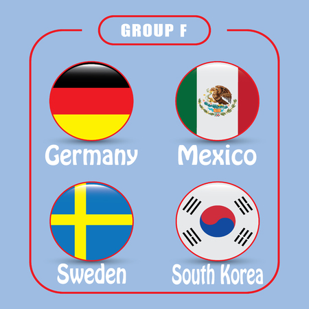 Football. Championship. Vector flags. Group F. Russia.