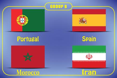 Football. Championship. Vector flags. Group B.