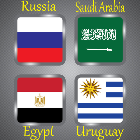 Football. Championship. Vector flags. Russia. Group A. Russia.