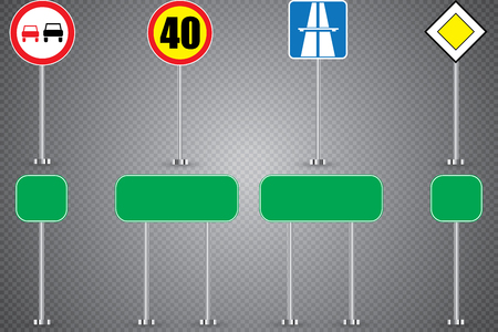 Realistic set of road signs isolated on transparent background. Vector illustration.