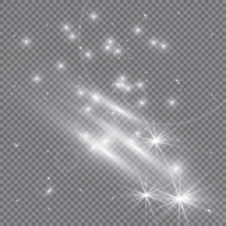 glittering star dust trail sparkling particles on transparent background. Space comet tail. Vector glamor fashion illustration.