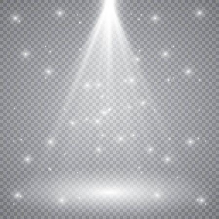 Weißes leuchtendes Licht platzte Explosion mit transparentem. Vektorillustration für kühle Effektdekoration mit Strahl funkelt. Heller Stern. Transparenter Glanzverlauf Glitzer, helle Fackel. Blende Textur. Vektorgrafik