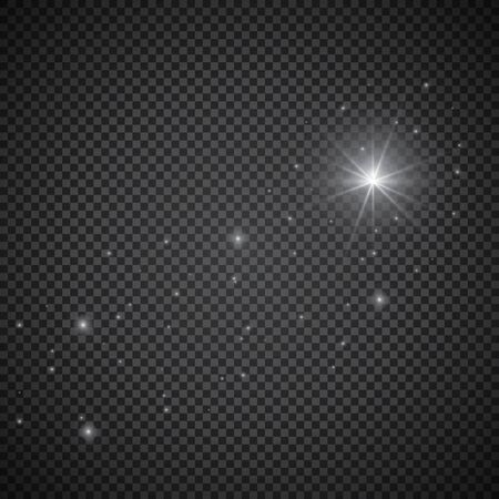 Comets effect with glowing light stars in sky. White falling meteorites isolated on transparent background. Vector cosmos flash starlight trail for your design. Illustration