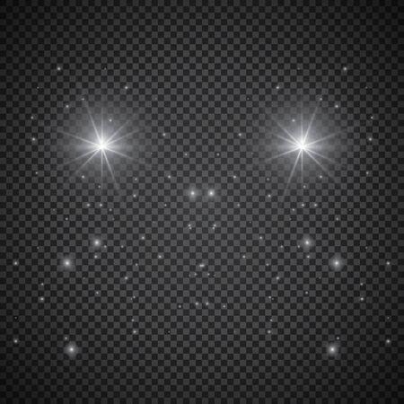 Kometeneffekt mit leuchtenden Lichtsternen am Himmel. Weiße fallende Meteoriten auf transparentem Hintergrund isoliert. Vektorkosmos-Flash-Sternenlichtspur für Ihr Design.