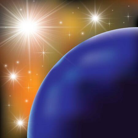 Planetas sobre las nebulosas en el espacio.
