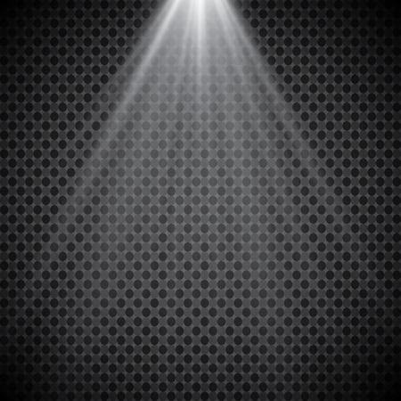 Podiumverlichting, transparante effecten. Felle verlichting met schijnwerpers.