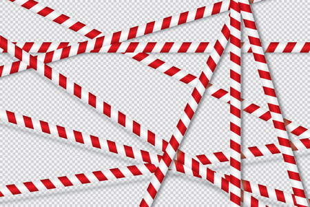 Red and white lines of barrier tape. The pole guard protects against the lack of input. Red and white barricade on a transparent background. Realistic red and white danger tape. Standard-Bild - 107242803