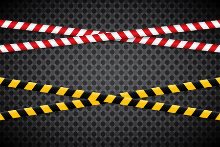 Caution lines isolated. Warning tapes. Danger signs. Vector illustration. Set of black and yellows caution tapes with different inscriptions.