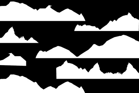 Mountains silhouettes on the white background. Vector set of outdoor design elements.