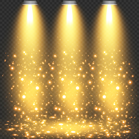 Concert lighting, stage spotlights set. Concert spotlight with beam, illuminated spotlights for web design illustration