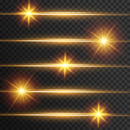 Bagliore effetto luce. Paillettes lampeggianti a stella. Fondo astratto dello spazio. Fascio luminoso del flash. Disegno fantastico.