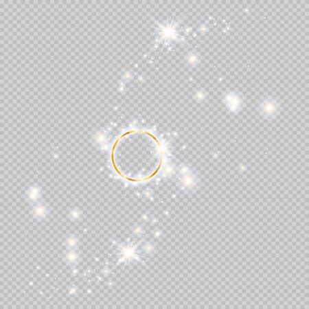 Golden ring on a transparent background. brilliant flash, shooting stars.