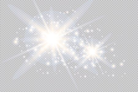 Vector blur in motion glow glare. Isolated transparent background. Decor element. Horizontal star burst rays and spotlight. Ilustração