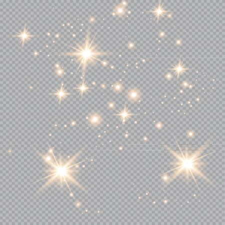 Set of gold glowing light effects isolated on transparent background. Glow light effect. Star exploded sparkles.