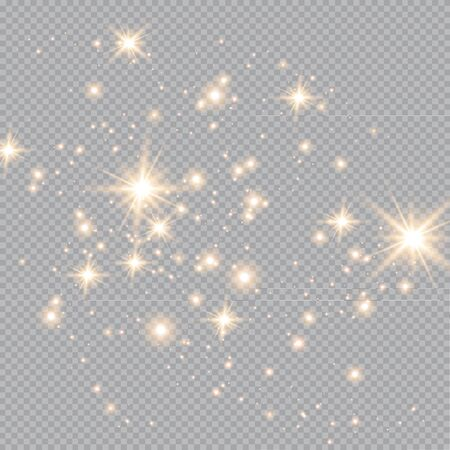 Set of gold glowing light effects isolated on transparent background. Glow light effect. Star exploded sparkles. Vettoriali