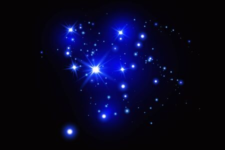 Set di effetti di luce blu incandescente isolati su uno sfondo scuro. Effetto luce bagliore.