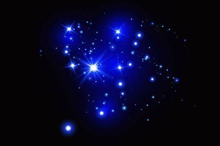 Zestaw niebieskich świecących efektów świetlnych na białym tle na ciemnym tle. Efekt blasku światła.