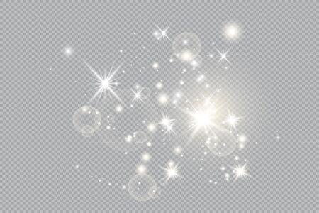 Satz Vektor leuchtende Lichteffektsterne platzt mit Funkeln auf transparentem Hintergrund. Transparente Sterne. Vektorgrafik