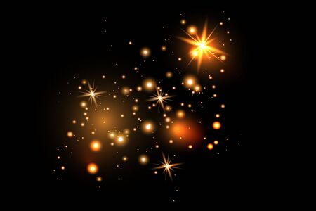 Set of gold glowing light effects isolated on dark background. Glow light effect. Star exploded sparkles. Vettoriali
