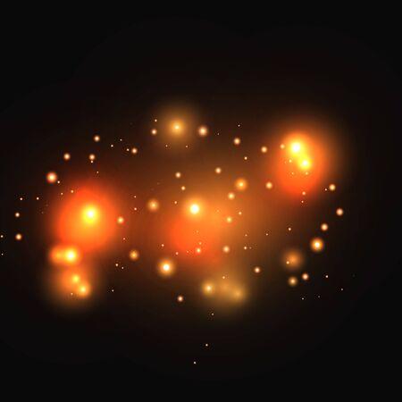 Set di effetti di luce incandescente oro isolati su sfondo scuro. Effetto luce bagliore. La stella ha esploso scintillii.