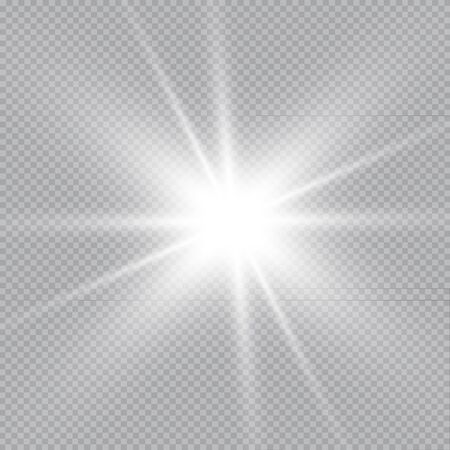 Set of Vector glowing light effect stars bursts with sparkles on transparent background. Transparent stars. Иллюстрация