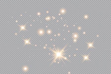 Merry Christmas. golden fire on a transparent background, golden dusty stars. vector illustrator Vettoriali