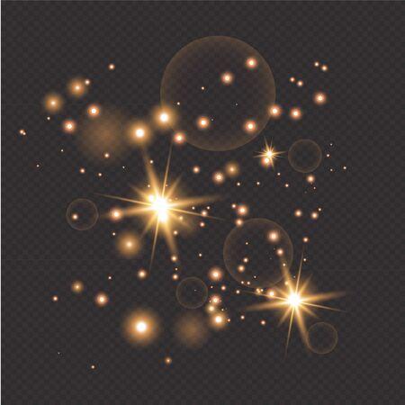 golden fire on a transparent background, golden dusty stars. Glitter vintage foundation lights. dark gold and black.