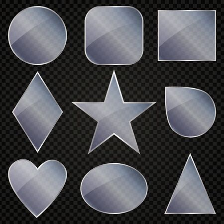 Glass geometric shapes on a transparent background. There is also an oval, square. Star, rhombus, drops.