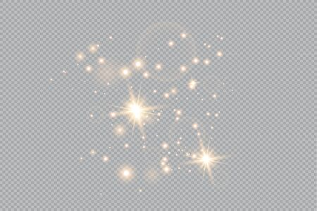 Merry Christmas. golden fire on a transparent background, golden dusty stars. vector illustrator  イラスト・ベクター素材