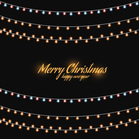 Christmas golden lights isolated on dark background. Christmas luminous garland. Vector illustration