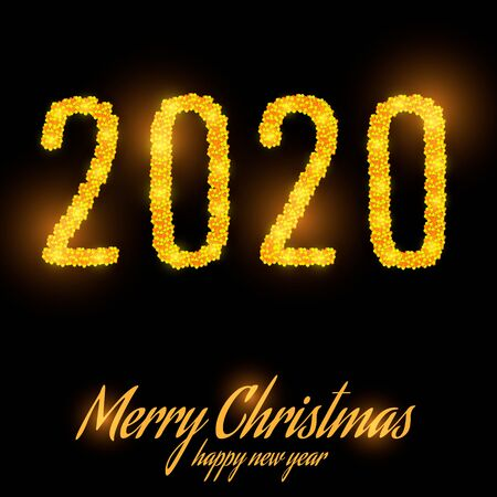 New Year 2020 line design. Starlight and lettering. vector illustration