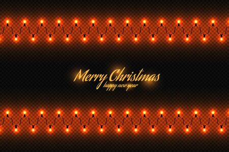 Golden christmas lights isolated realistic design elements. Glowing lights for greeting card design. Garlands, Christmas decorations. Beautiful light background. 矢量图像