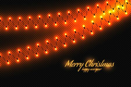 Golden christmas lights isolated realistic design elements. Glowing lights for greeting card design. Garlands, Christmas decorations. Beautiful light background. Vettoriali