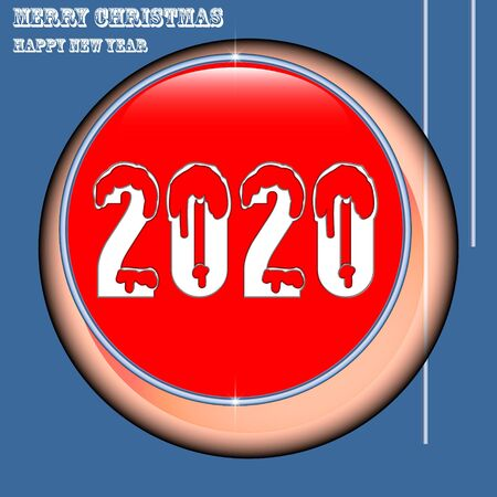 Happy new year 2020. Holiday vector illustration. Holiday poster or banner design.