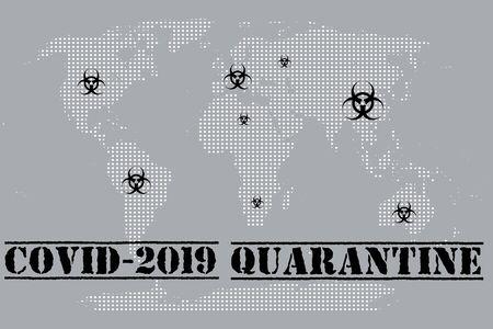 In the world of quarantine due to coronavirus. Attention, caution, virus.