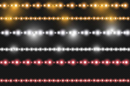 Set of vector realistic seamless light garlands isolated on transparent background