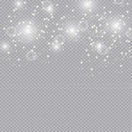 Glow light effect. Vector illustration. Christmas flash dust. White sparks and glitter special light effect. Vector sparkles on transparent background. Sparkling magic dust particles Archivio Fotografico - 157824362