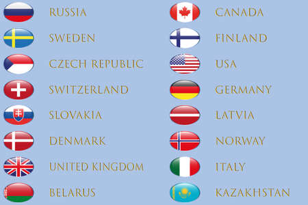 Announcement of participants and flags of teams of ice hockey competitions 2021. Hockey table on ice background. Vector.