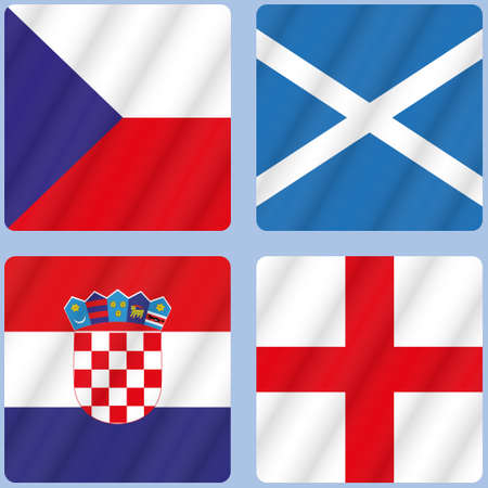 Flags of the participating teams with the text for the European Cup.