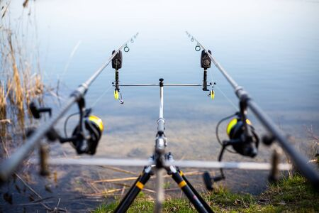 Close up of rack with fishing rods by the lake, fisherman waiting for freshwater fish, fishing background, angling sport